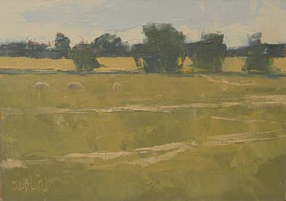Oil painting of sheep grazing in a field
