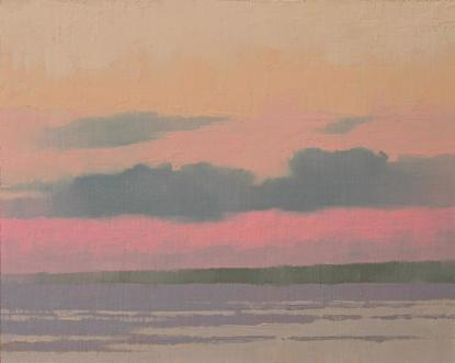 An oil painting of a sherbet colored sky over a simple seascape