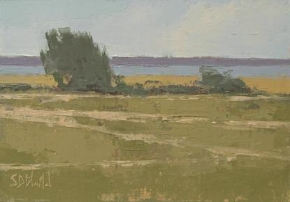 An oil painting of trees on Puget Sound with green field in the foreground