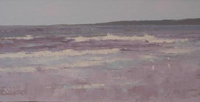 An oil painting of seagulls on the beach with gray sea