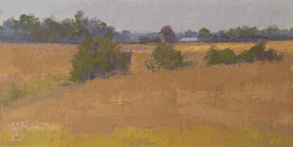 An oil painting of wheat fields before the harvest.