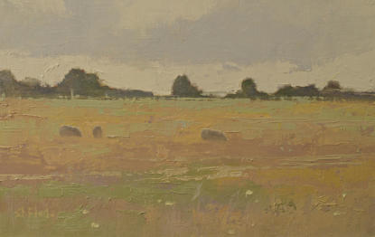 An oil painting of sheep in a summer meadow