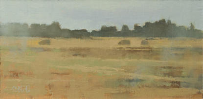 An oil painting of sheep grazing in a fall pasture