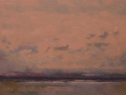 An oil painting of the sky over Elliott Bay