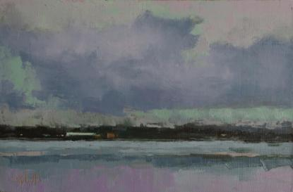 An oil painting of a view at Seattle Fishermans Terminal